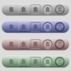 Note lock icons on horizontal menu bars - Note lock icons on rounded horizontal menu bars in different colors and button styles