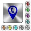 Call box GPS map location rounded square steel buttons - Call box GPS map location engraved icons on rounded square glossy steel buttons