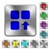 Move up component rounded square steel buttons - Move up component engraved icons on rounded square glossy steel buttons