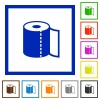 Paper towel flat framed icons - Paper towel flat color icons in square frames on white background