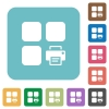 Print component rounded square flat icons - Print component white flat icons on color rounded square backgrounds