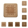 Computer processor wooden buttons - Computer processor on rounded square carved wooden button styles