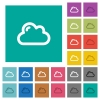 Single cloud multi colored flat icons on plain square backgrounds. Included white and darker icon variations for hover or active effects. - Single cloud square flat multi colored icons