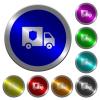Money deliverer truck luminous coin-like round color buttons - Money deliverer truck icons on round luminous coin-like color steel buttons