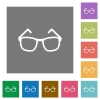 Eyeglasses flat icons on simple color square backgrounds - Eyeglasses square flat icons