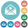 Open mail with malware symbol flat round icons - Open mail with malware symbol flat white icons on round color backgrounds