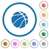 Basketball icons with shadows and outlines - Basketball flat color vector icons with shadows in round outlines on white background