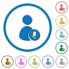 User broadcasting icons with shadows and outlines - User broadcasting flat color vector icons with shadows in round outlines on white background