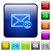Mail attachment color square buttons - Mail attachment icons in rounded square color glossy button set