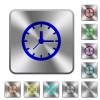 Clock rounded square steel buttons - Clock engraved icons on rounded square glossy steel buttons