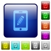 Smartphone memo color square buttons - Smartphone memo icons in rounded square color glossy button set