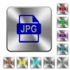 JPG file format rounded square steel buttons - JPG file format engraved icons on rounded square glossy steel buttons