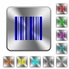 Barcode rounded square steel buttons - Barcode engraved icons on rounded square glossy steel buttons