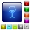Glass of wine color square buttons - Glass of wine icons in rounded square color glossy button set