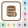 Adjust database value simple icons - Adjust database value simple icons in color rounded square frames on white background