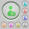 Secure user account push buttons - Secure user account color icons on sunk push buttons