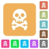 Skull with bones rounded square flat icons - Skull with bones flat icons on rounded square vivid color backgrounds.