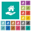 Home insurance square flat multi colored icons - Home insurance multi colored flat icons on plain square backgrounds. Included white and darker icon variations for hover or active effects.