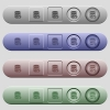 Database paste data icons on horizontal menu bars - Database paste data icons on rounded horizontal menu bars in different colors and button styles