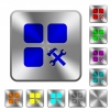 Component tools rounded square steel buttons - Component tools engraved icons on rounded square glossy steel buttons