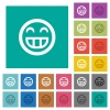 Laughing emoticon multi colored flat icons on plain square backgrounds. Included white and darker icon variations for hover or active effects. - Laughing emoticon square flat multi colored icons