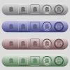 Note unlock icons on horizontal menu bars - Note unlock icons on rounded horizontal menu bars in different colors and button styles