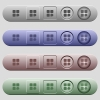 Message component icons on rounded horizontal menu bars in different colors and button styles - Message component icons on horizontal menu bars