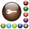 Safety key color glass buttons - Safety key white icons on round color glass buttons
