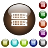 Rack servers color glass buttons - Rack servers white icons on round color glass buttons