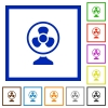 Table fan flat framed icons - Table fan flat color icons in square frames on white background