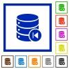 Database macro prev flat framed icons - Database macro prev flat color icons in square frames on white background