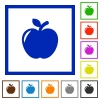 Apple flat framed icons - Apple flat color icons in square frames on white background