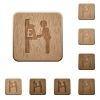 Pound cash machine wooden buttons - Pound cash machine on rounded square carved wooden button styles