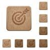 Target table with arrow on rounded square carved wooden button styles - Target table with arrow wooden buttons