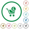Checkout with Pound cart flat icons with outlines - Checkout with Pound cart flat color icons in round outlines on white background