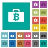 Bitcoin bag square flat multi colored icons - Bitcoin bag multi colored flat icons on plain square backgrounds. Included white and darker icon variations for hover or active effects.