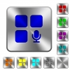 Component recording rounded square steel buttons - Component recording engraved icons on rounded square glossy steel buttons
