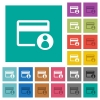 Cardholder of credit card square flat multi colored icons - Cardholder of credit card multi colored flat icons on plain square backgrounds. Included white and darker icon variations for hover or active effects.