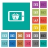 Mobile shopping square flat multi colored icons - Mobile shopping multi colored flat icons on plain square backgrounds. Included white and darker icon variations for hover or active effects.