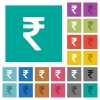 Indian Rupee sign square flat multi colored icons - Indian Rupee sign multi colored flat icons on plain square backgrounds. Included white and darker icon variations for hover or active effects.