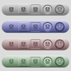 Dollar coins icons on horizontal menu bars - Dollar coins icons on rounded horizontal menu bars in different colors and button styles