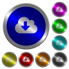 Cloud download luminous coin-like round color buttons - Cloud download icons on round luminous coin-like color steel buttons