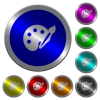 Paint kit luminous coin-like round color buttons - Paint kit icons on round luminous coin-like color steel buttons