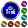 Ruble financial graph luminous coin-like round color buttons - Ruble financial graph icons on round luminous coin-like color steel buttons