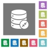 Shrink database square flat icons - Shrink database flat icons on simple color square backgrounds