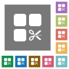 Cut component square flat icons - Cut component flat icons on simple color square backgrounds