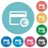 Euro credit card flat round icons - Euro credit card flat white icons on round color backgrounds