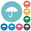 Umbrella flat round icons - Umbrella flat white icons on round color backgrounds