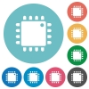 Computer processor flat round icons - Computer processor flat white icons on round color backgrounds
