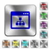 Networking application rounded square steel buttons - Networking application engraved icons on rounded square glossy steel buttons